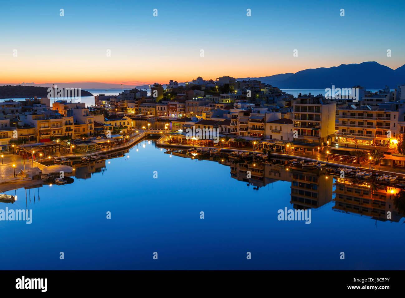 View of Agios Nikolaos and its harbor, Crete, Greece. - Stock Image