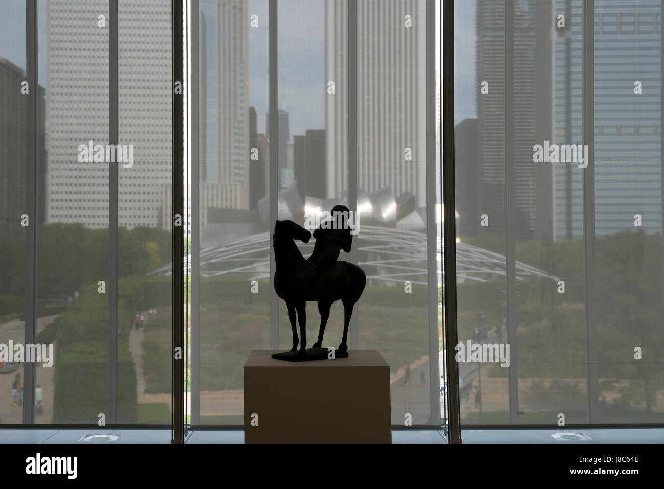 View of Chicago buidlings and Harris Auditorium from Chicago Art Institue window USA - Stock Image