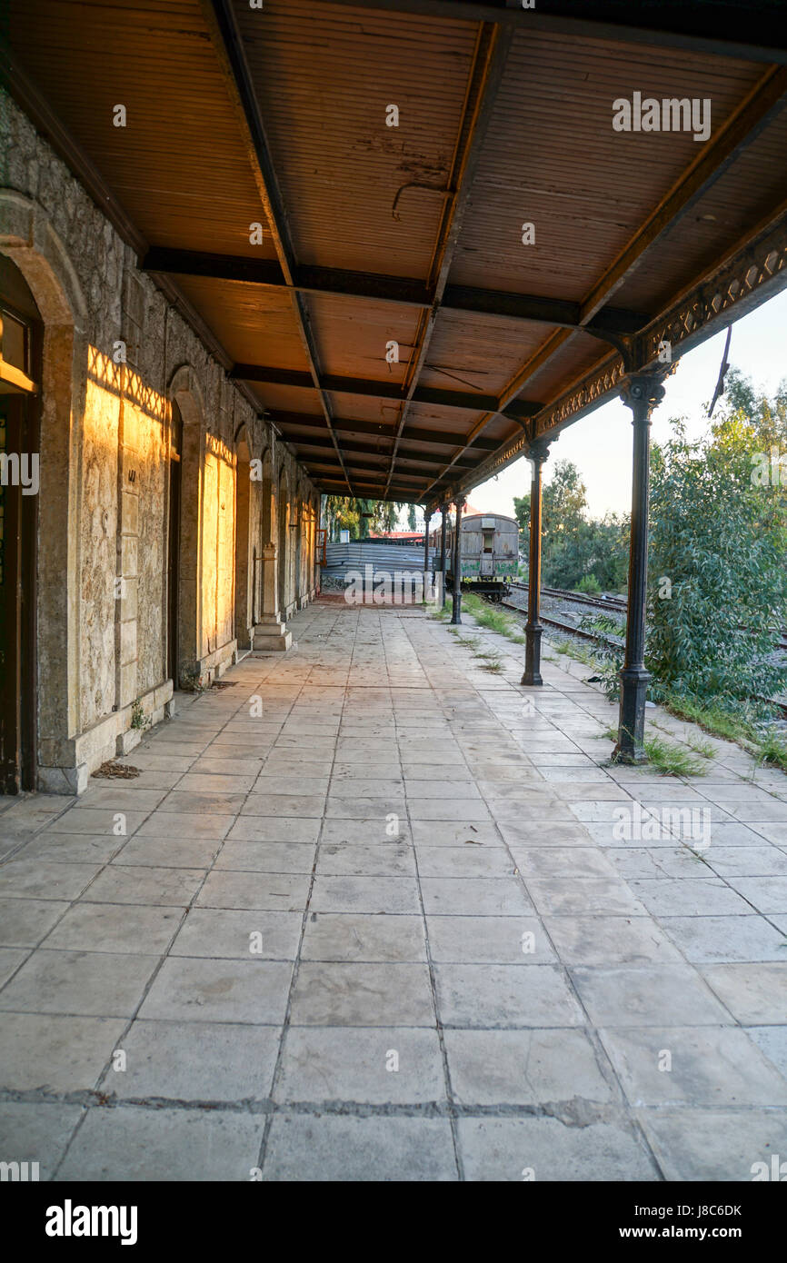 Disused and neglected Train station - Stock Image