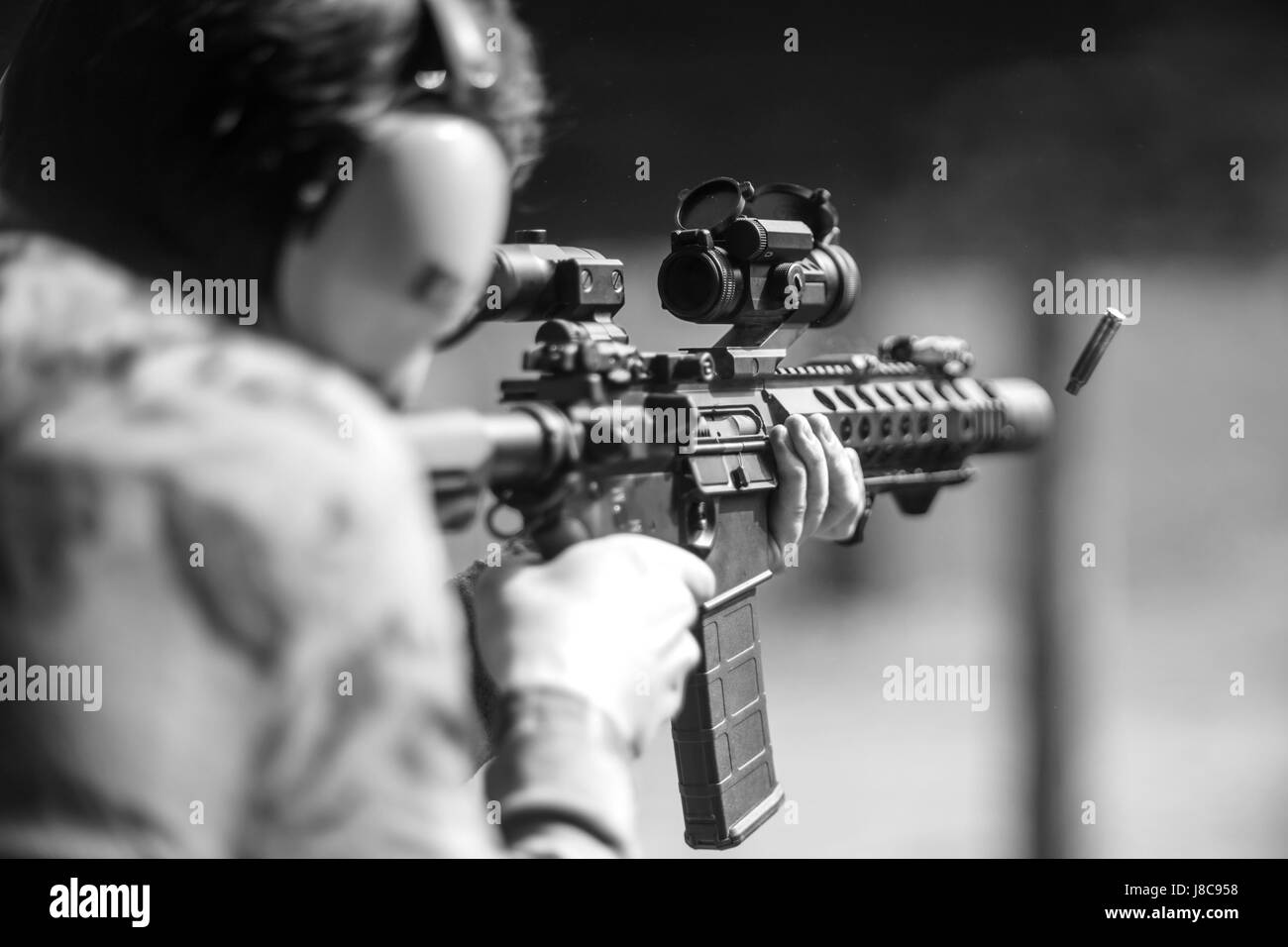Shots with a machine gun - Stock Image