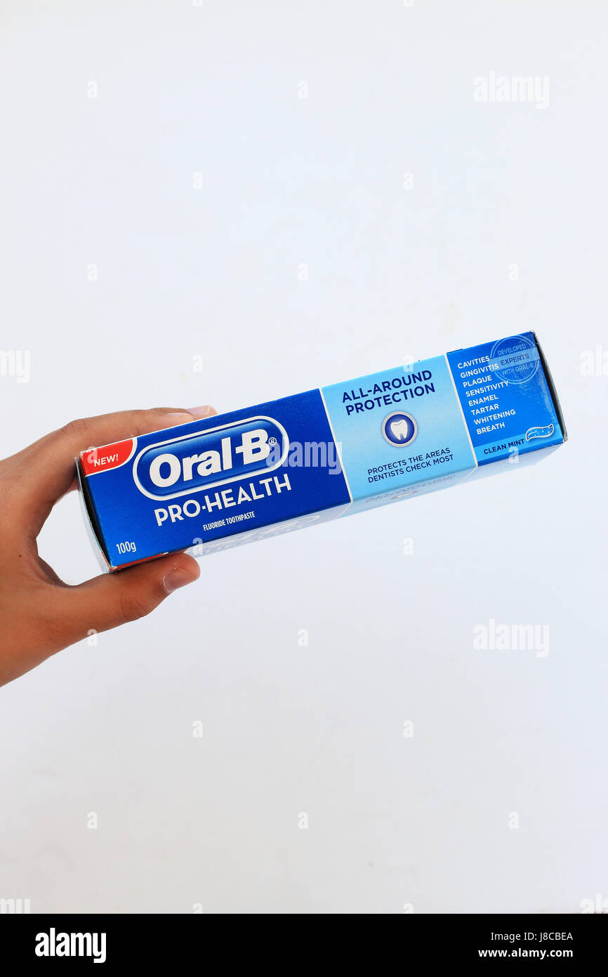 Oral B Pro Health toothpaste isolated against white background - Stock Image