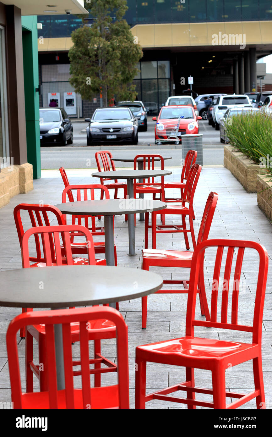 Outdoor metal cafe table and chairs - Stock Image