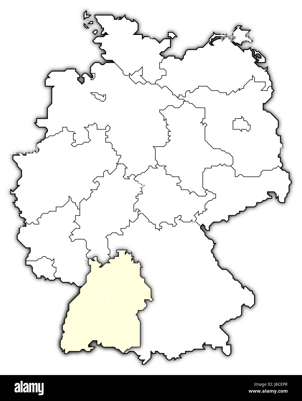 map of germany,baden-wuerttemberg highlighted - Stock Image