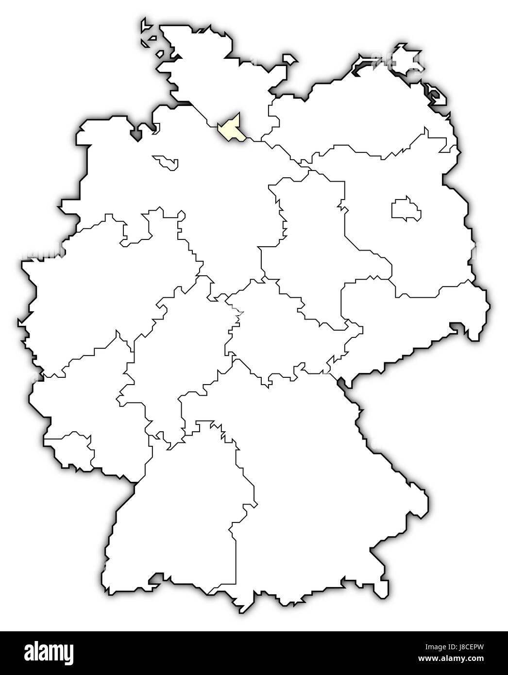 map of germany,hamburg highlighted - Stock Image