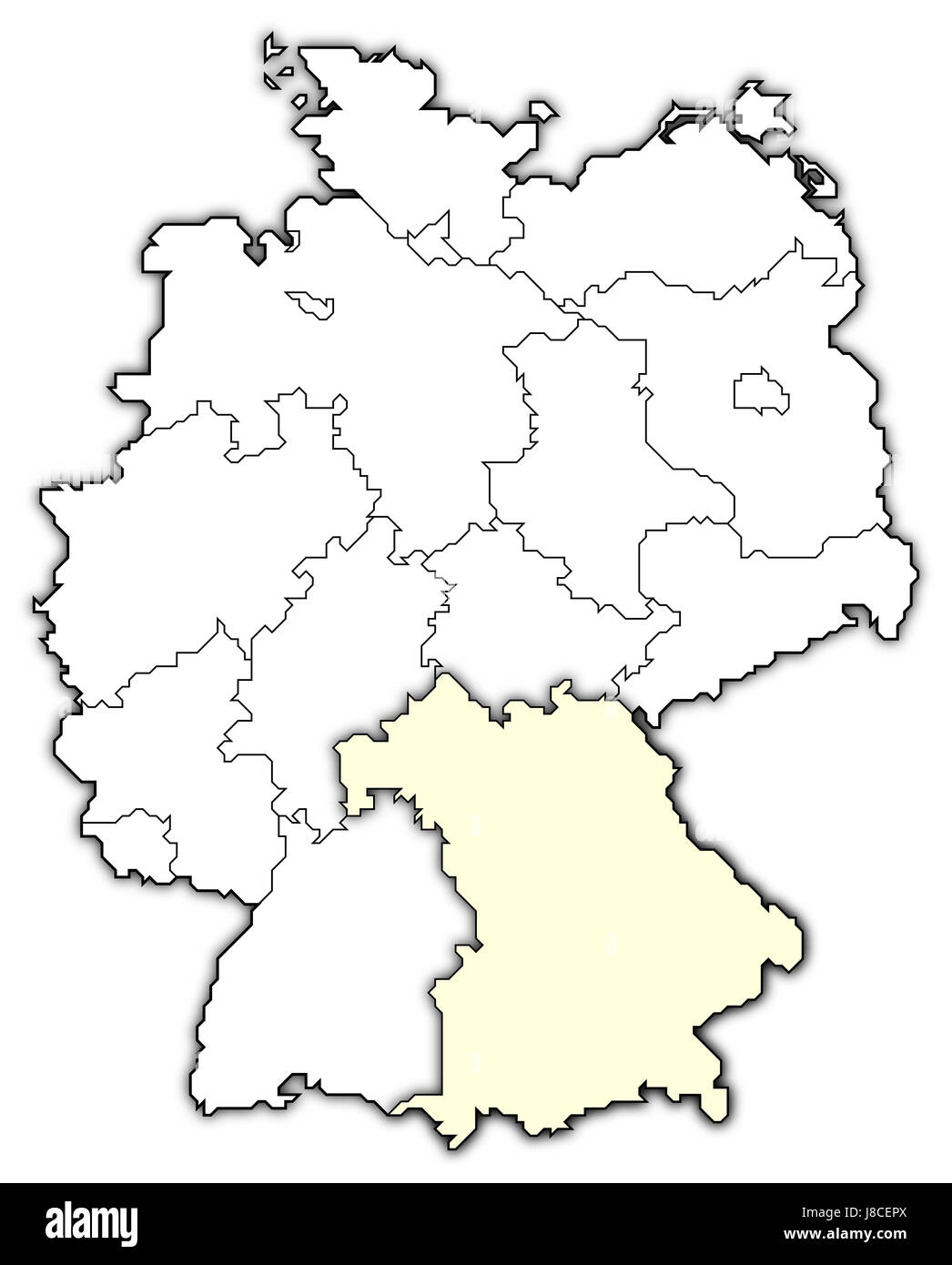 map of germany,bavaria highlighted - Stock Image