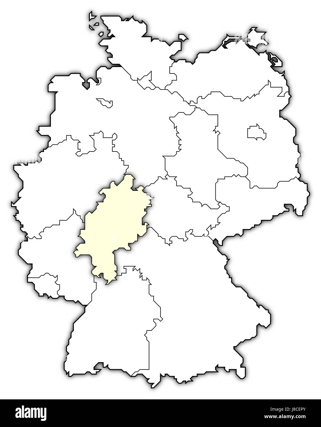 map of germany,hesse highlighted - Stock Image