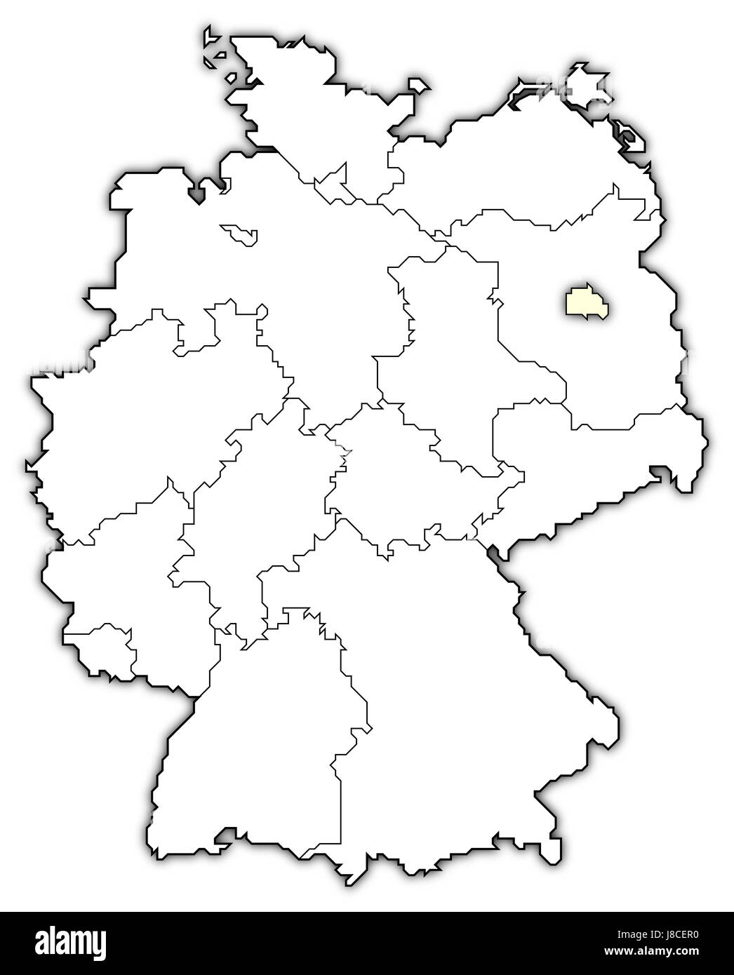 Map Of Germany Berlin Highlighted Stock Photo Alamy