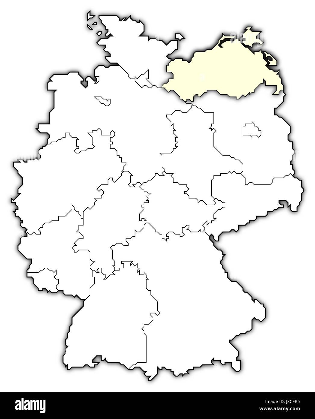 map of germany,mecklenburg-vorpommern highlighted - Stock Image