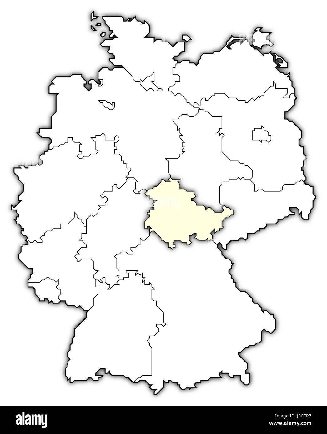 map of germany,thuringia highlighted - Stock Image
