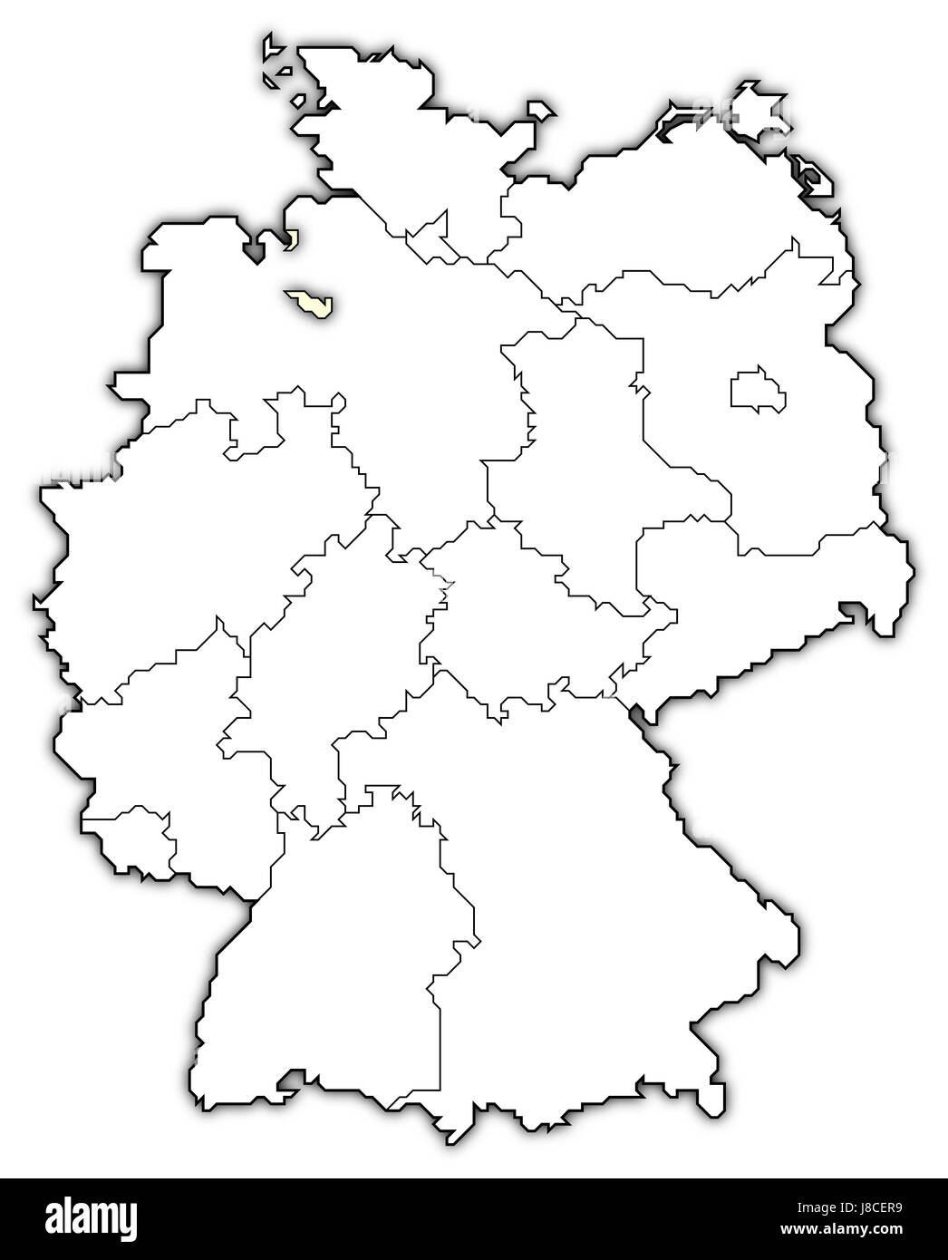 map of germany,bremen highlighted - Stock Image