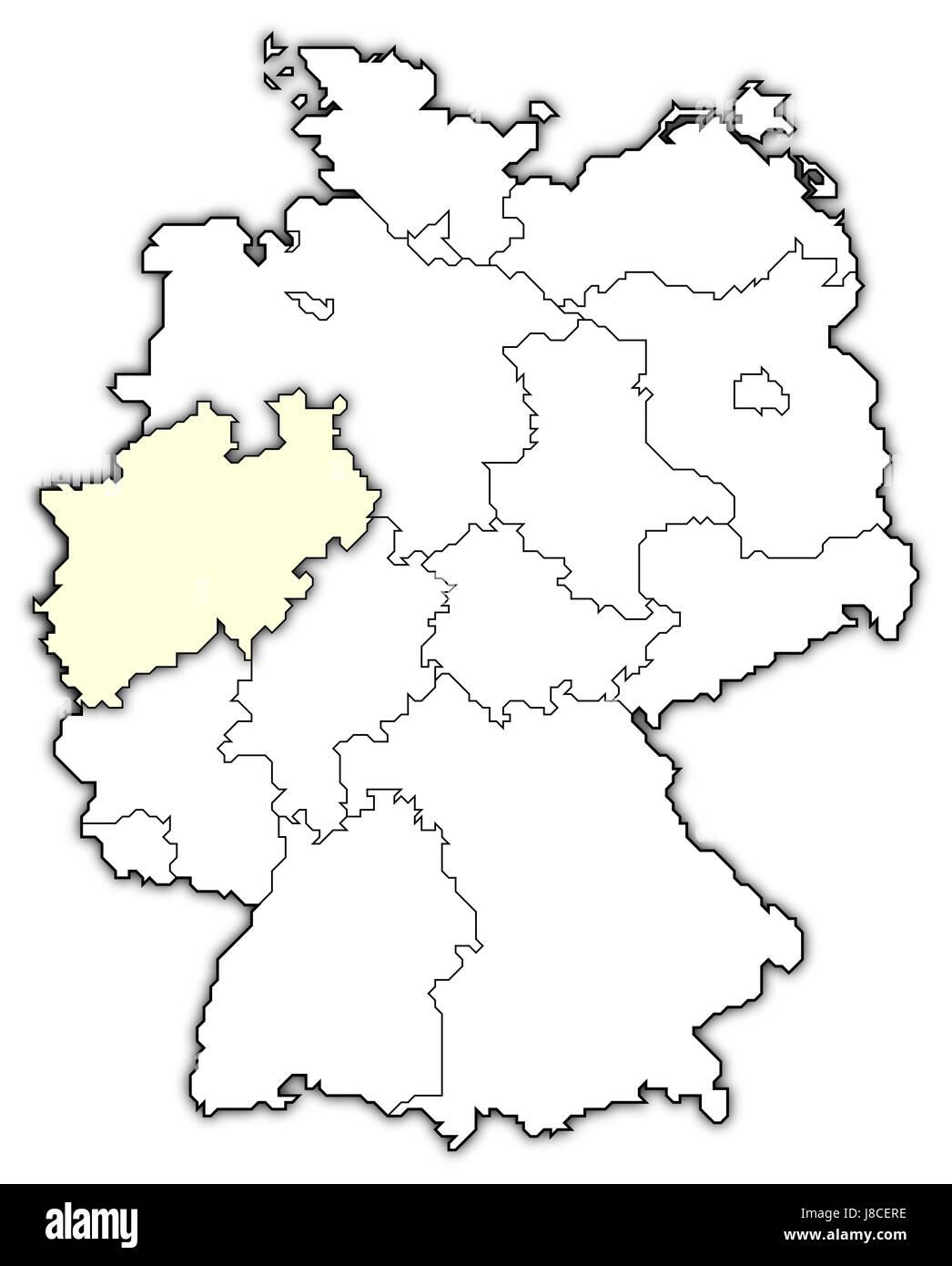 map of germany,north rhine-westphalia highlighted - Stock Image
