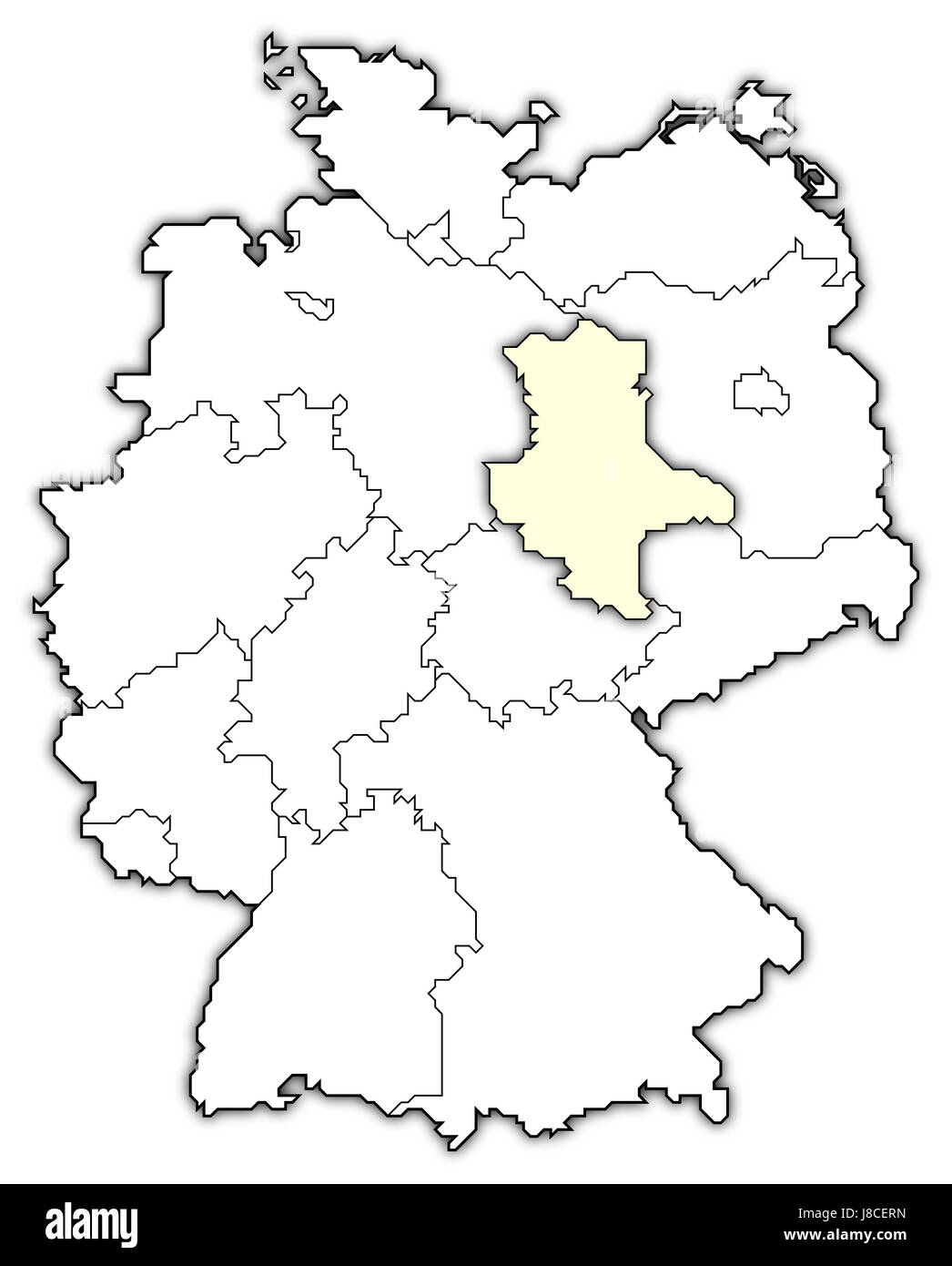 map of germany,saxony-anhalt highlighted - Stock Image