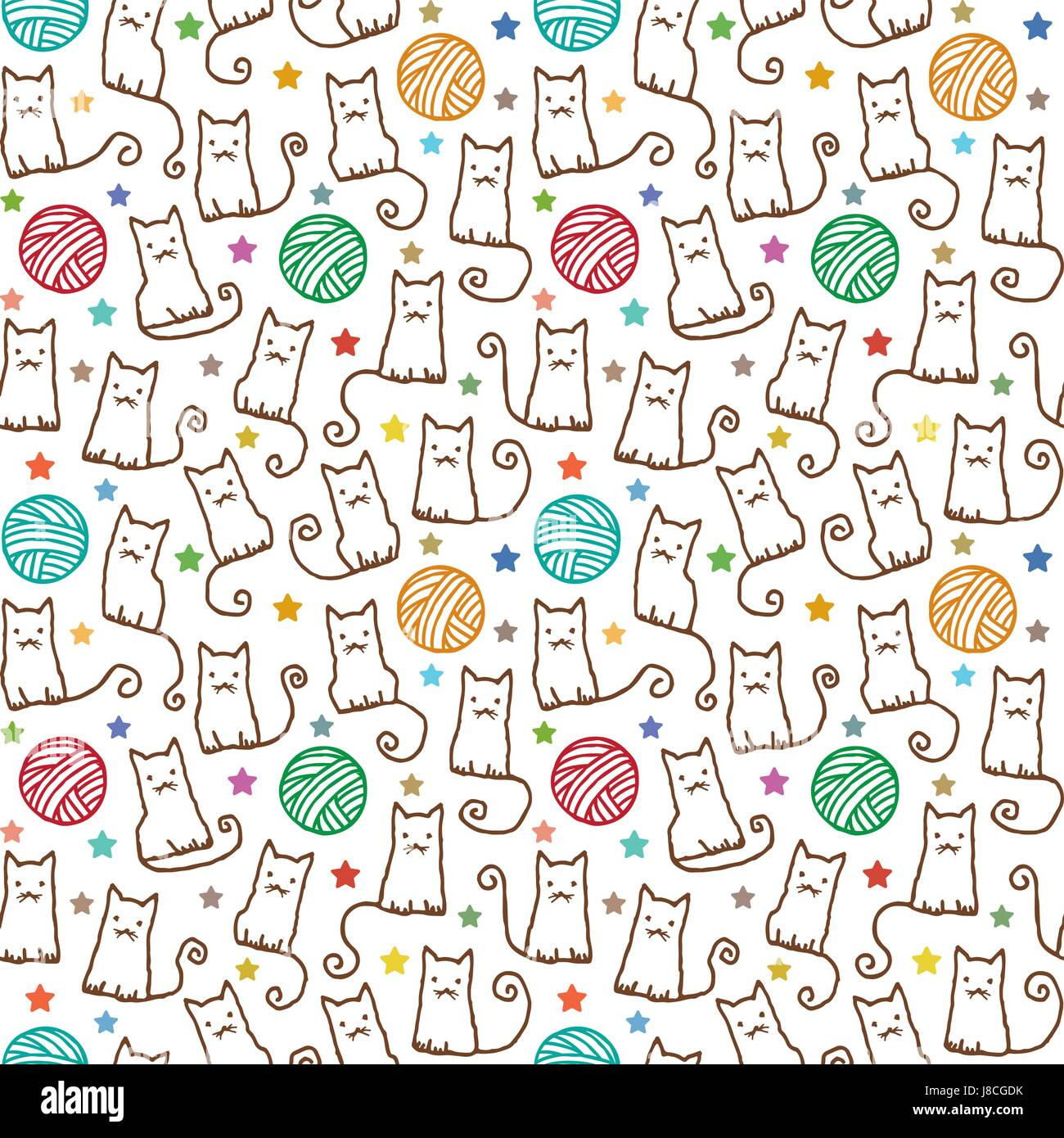 Hand drawn vector seamless pattern with cats and wool claws 1 - Stock Vector