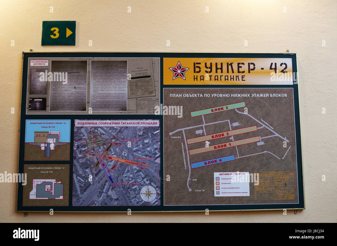 Moscow, Russia: the map of the Bunker-42, anti-nuclear underground facility built in 1956 as command post of strategic - Stock Image