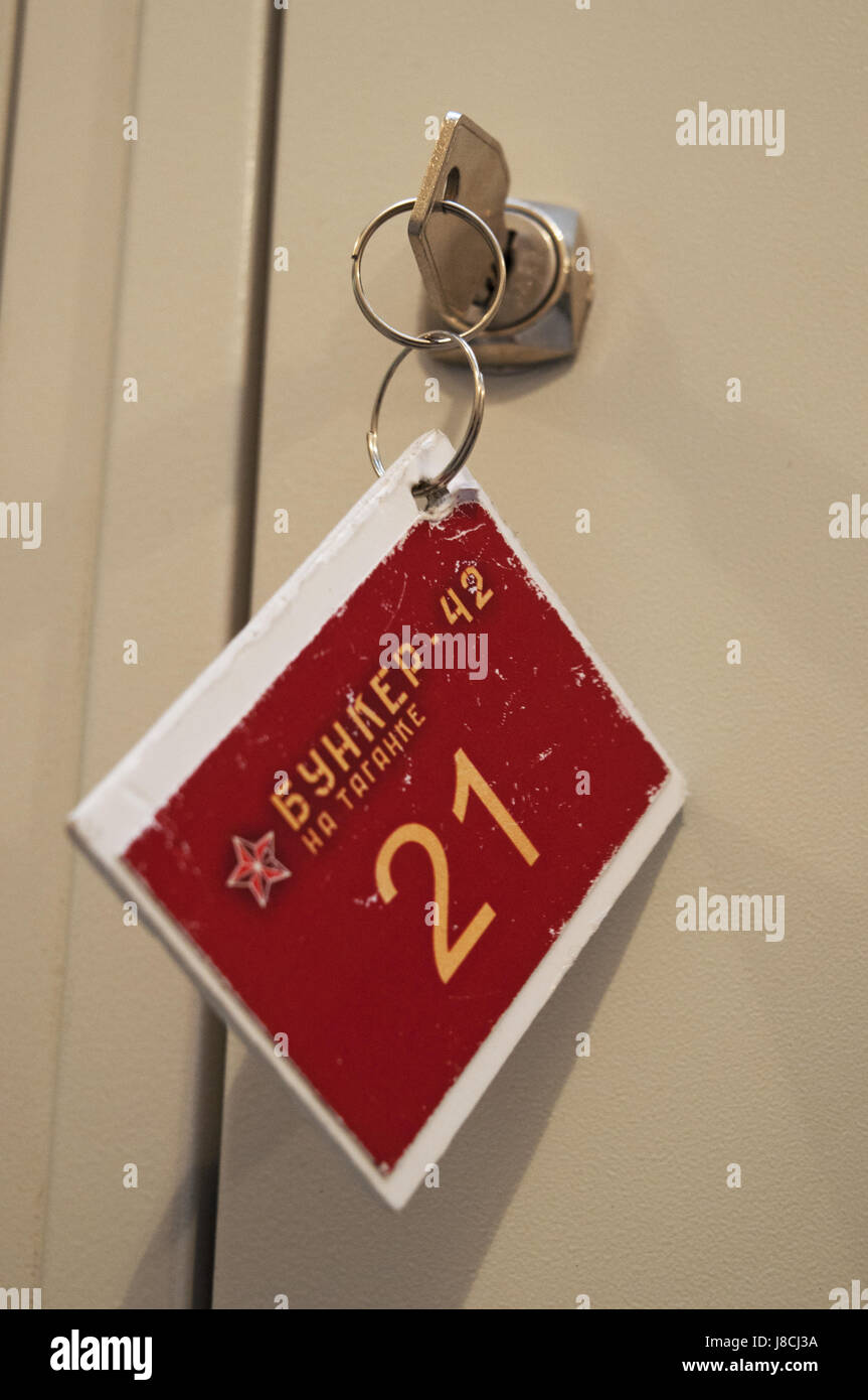 Moscow: key of a locker at Bunker-42, anti-nuclear underground facility built in 1956 as command post of strategic - Stock Image