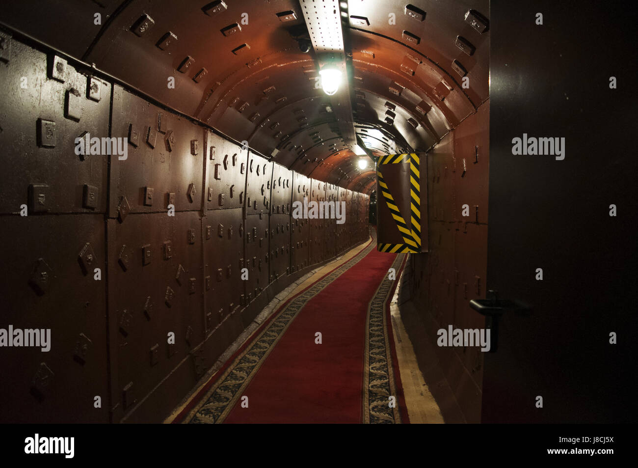 Moscow, Russia: a tunnel at Bunker-42, anti-nuclear underground facility built in 1956 as command post of strategic - Stock Image
