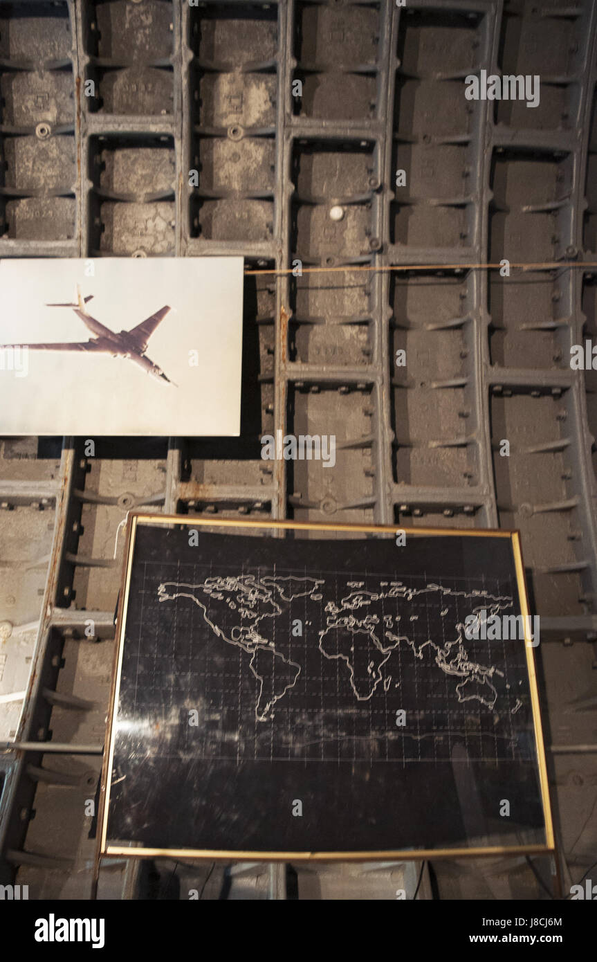 posters of military aircrafts at the Bunker-42, anti-nuclear underground facility built in 1956 as command post - Stock Image