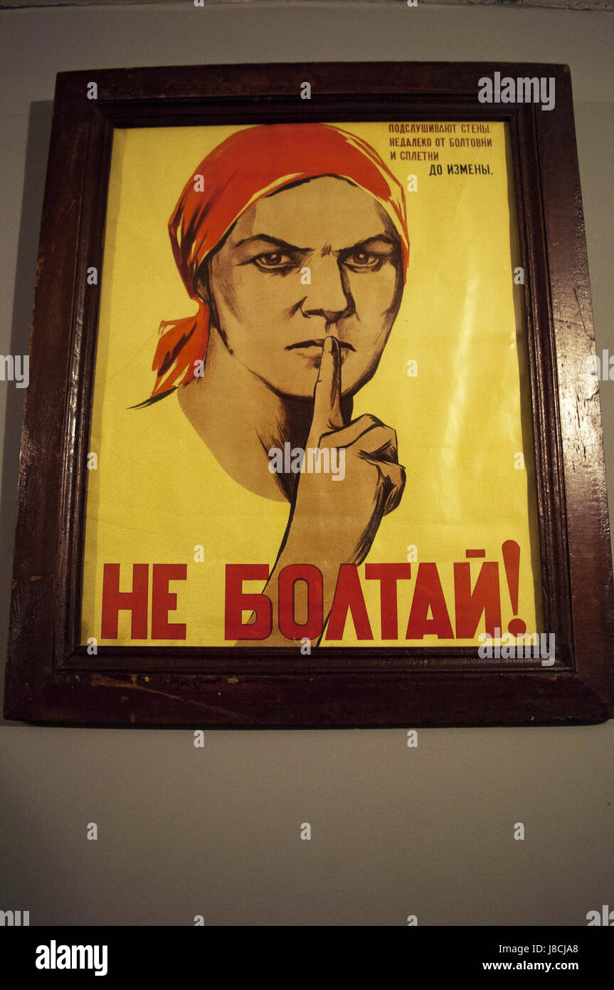 Moscow: one of the most famous posters of World War II, hanging on a wall of the Bunker-42, anti-nuclear underground - Stock Image