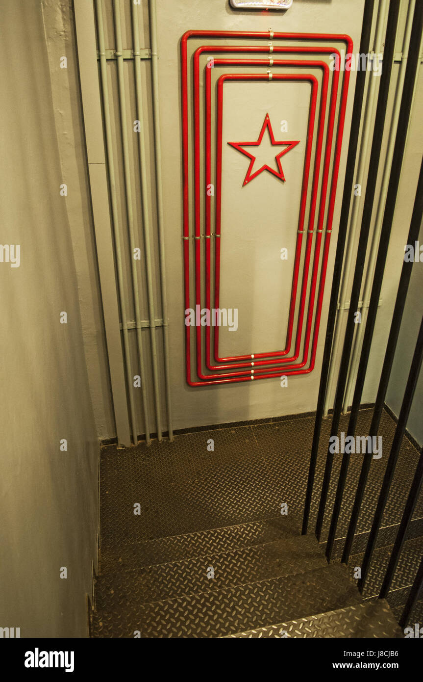 Moscow, Russia: the stairs at Bunker-42, anti-nuclear underground facility built in 1956 as command post of strategic - Stock Image