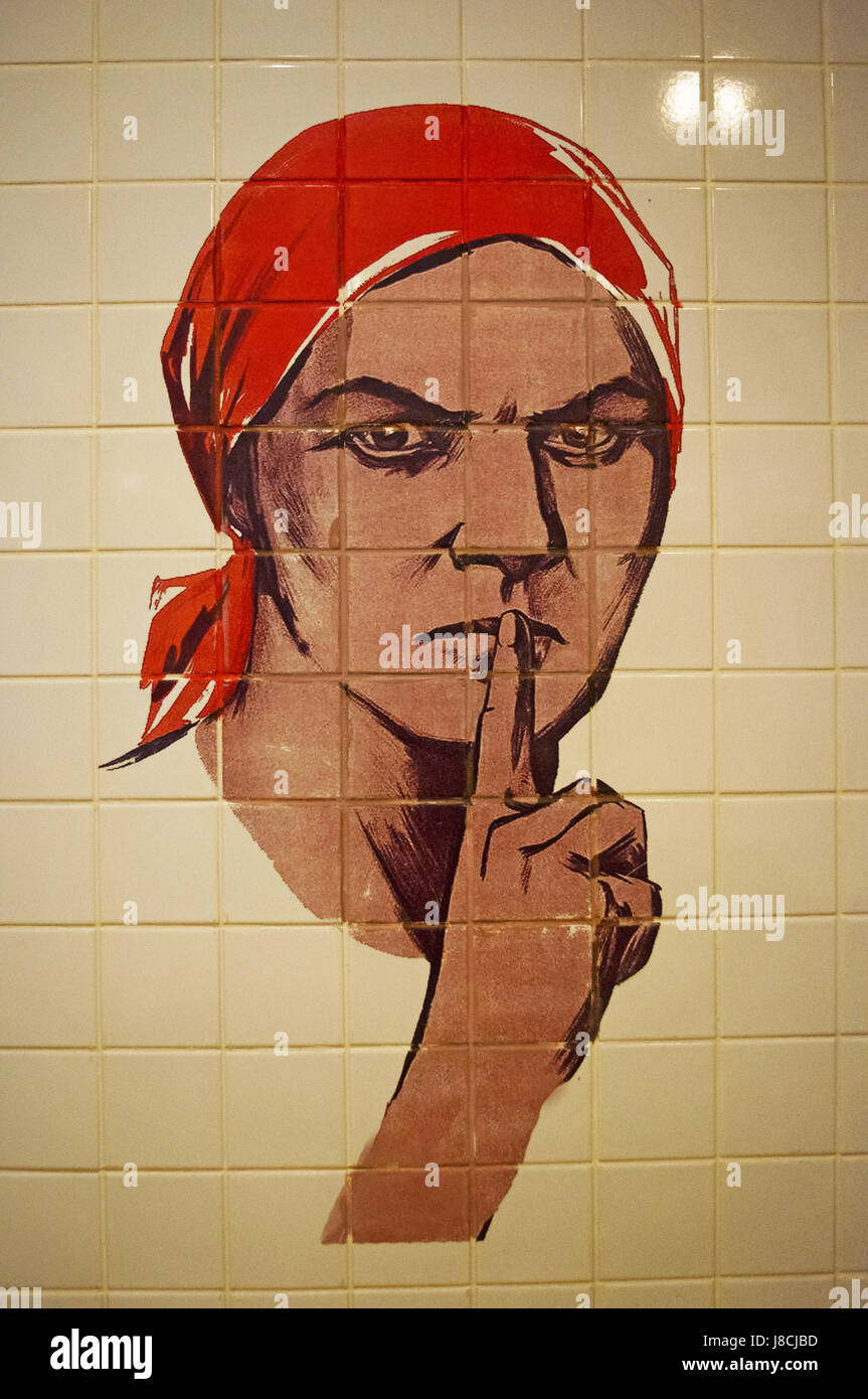 One of the most famous posters of World War II reproduced on women's restroom tiles at Bunker-42, anti-nuclear - Stock Image