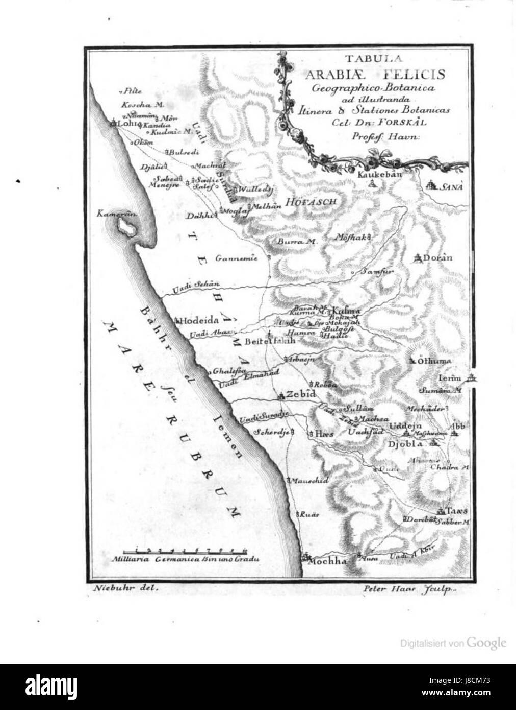 Map of yemen 1763 - Stock Image