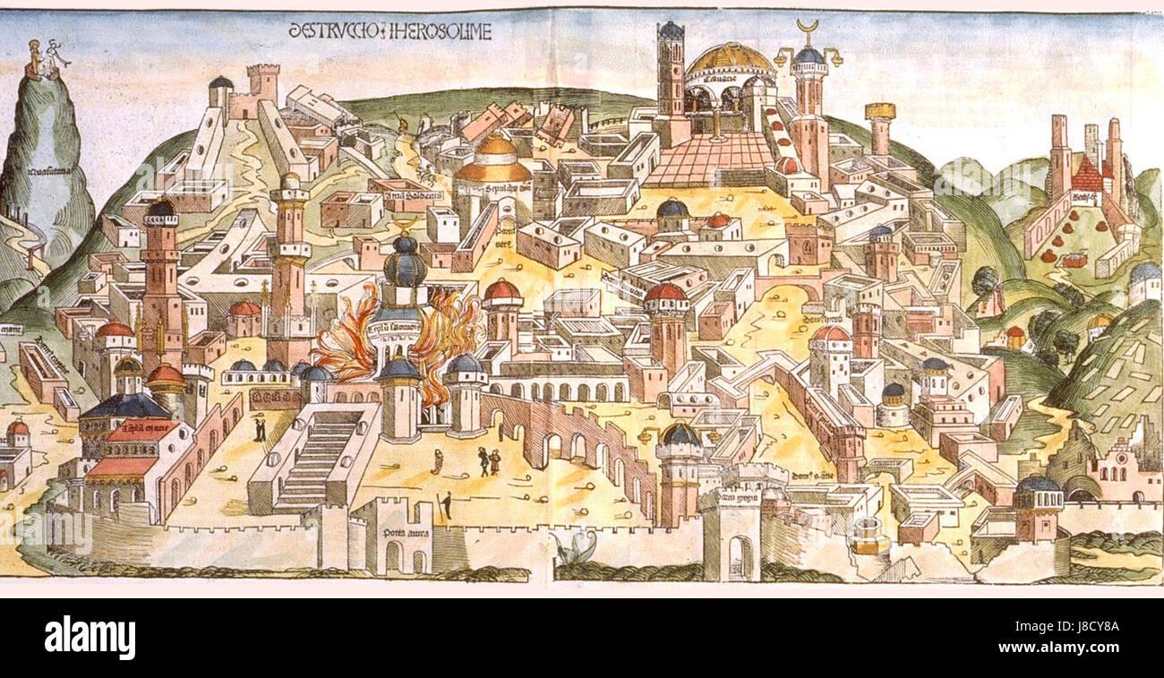 Hartmann schedel DESTRVCCIO IHEROSOLIME 1493 1 1460x750 - Stock Image
