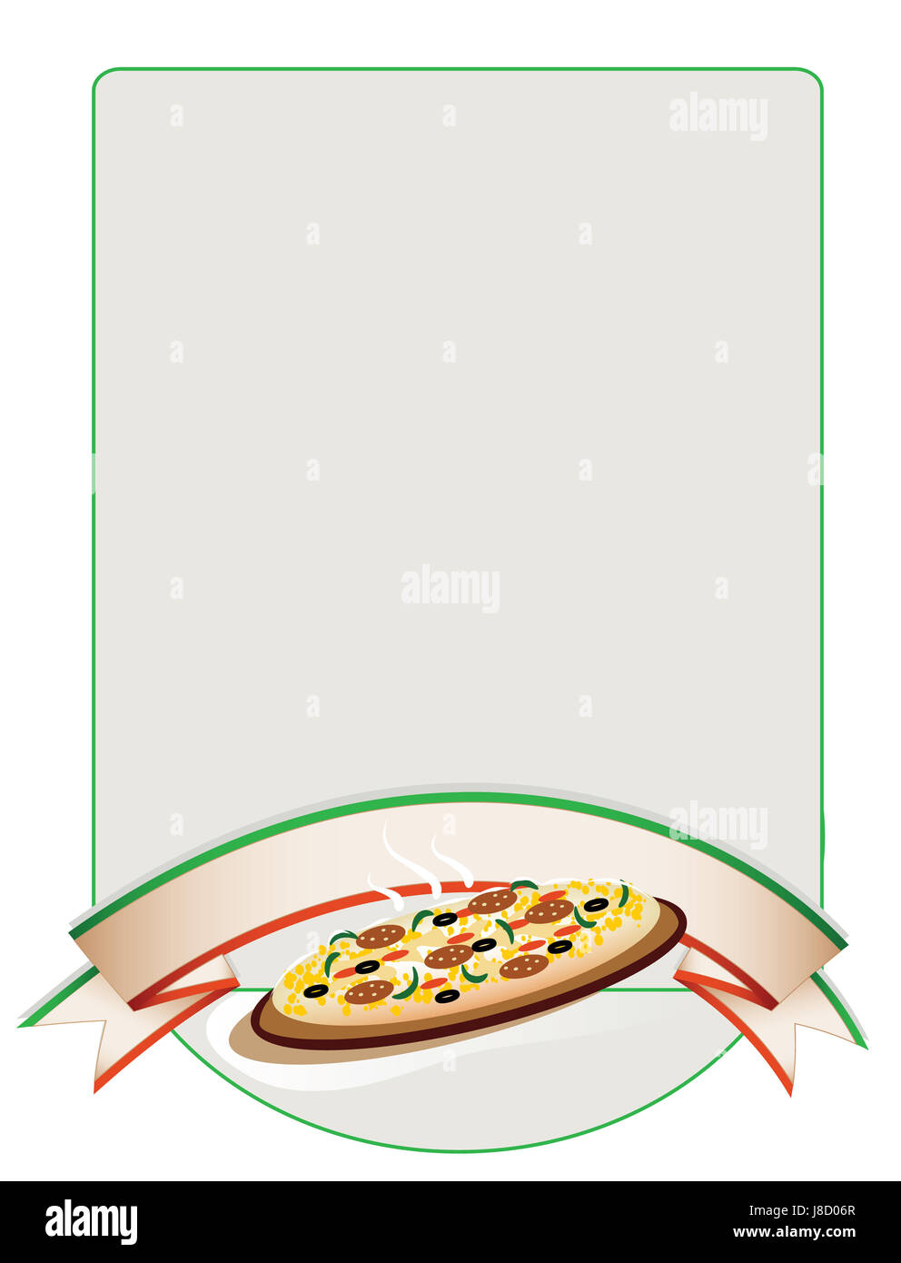 food, aliment, graphic, illustration, pizza, card, banner, pizzeria, - Stock Image