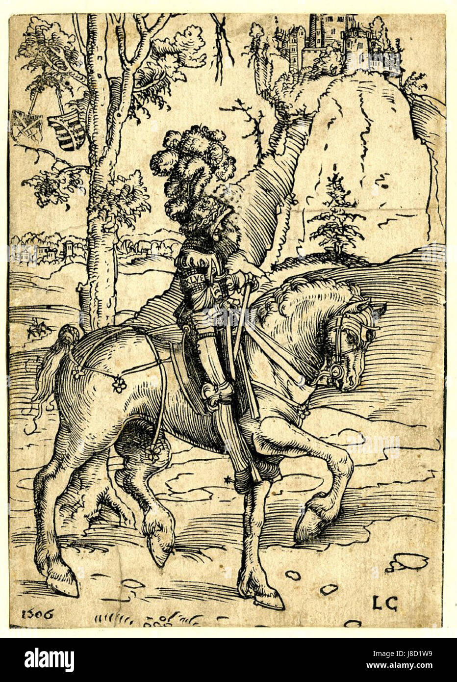Knight on horseback riding to the right by Lucas Cranach the Elder - Stock Image