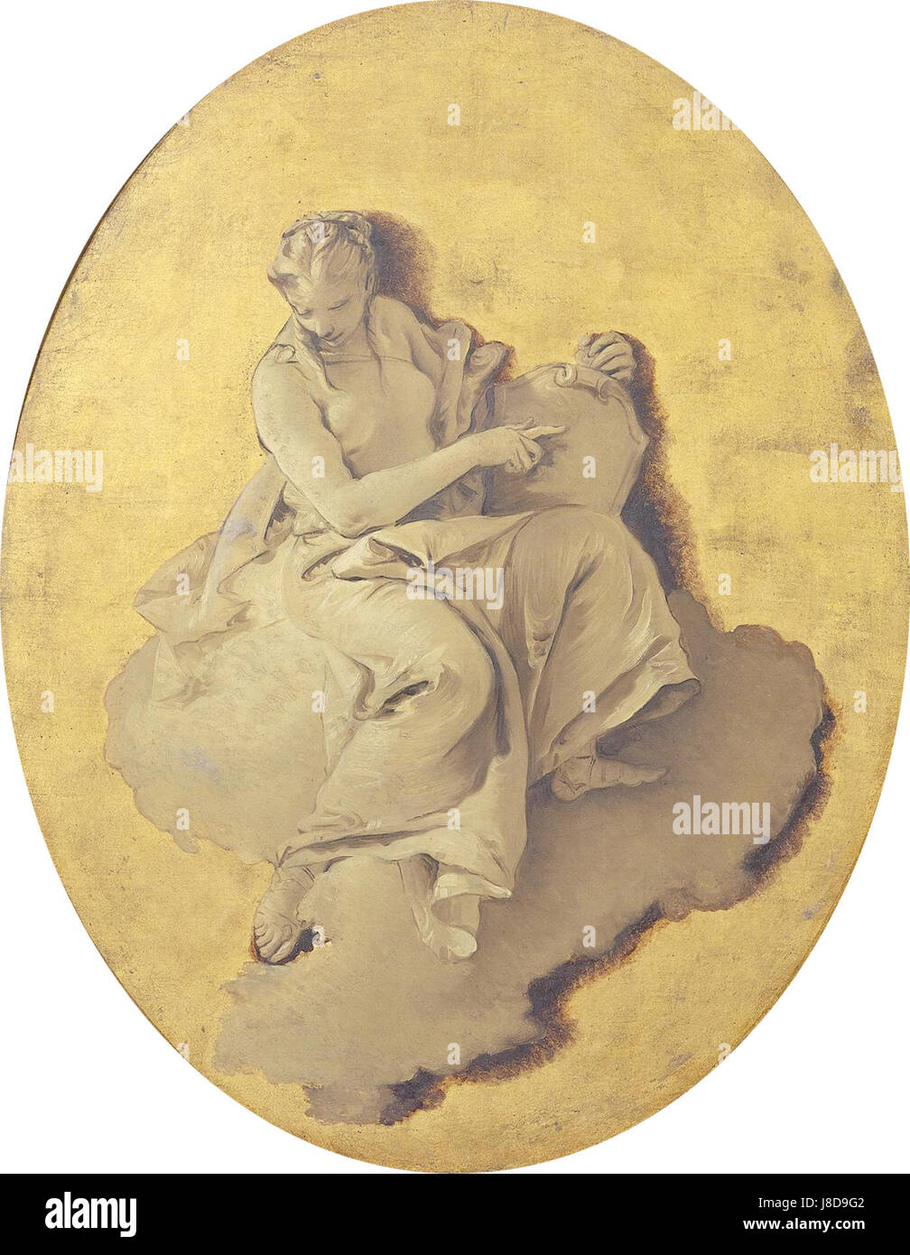 Giovanni Battista Tiepolo   Allegorische vrouwenfiguur met een schild - Stock Image