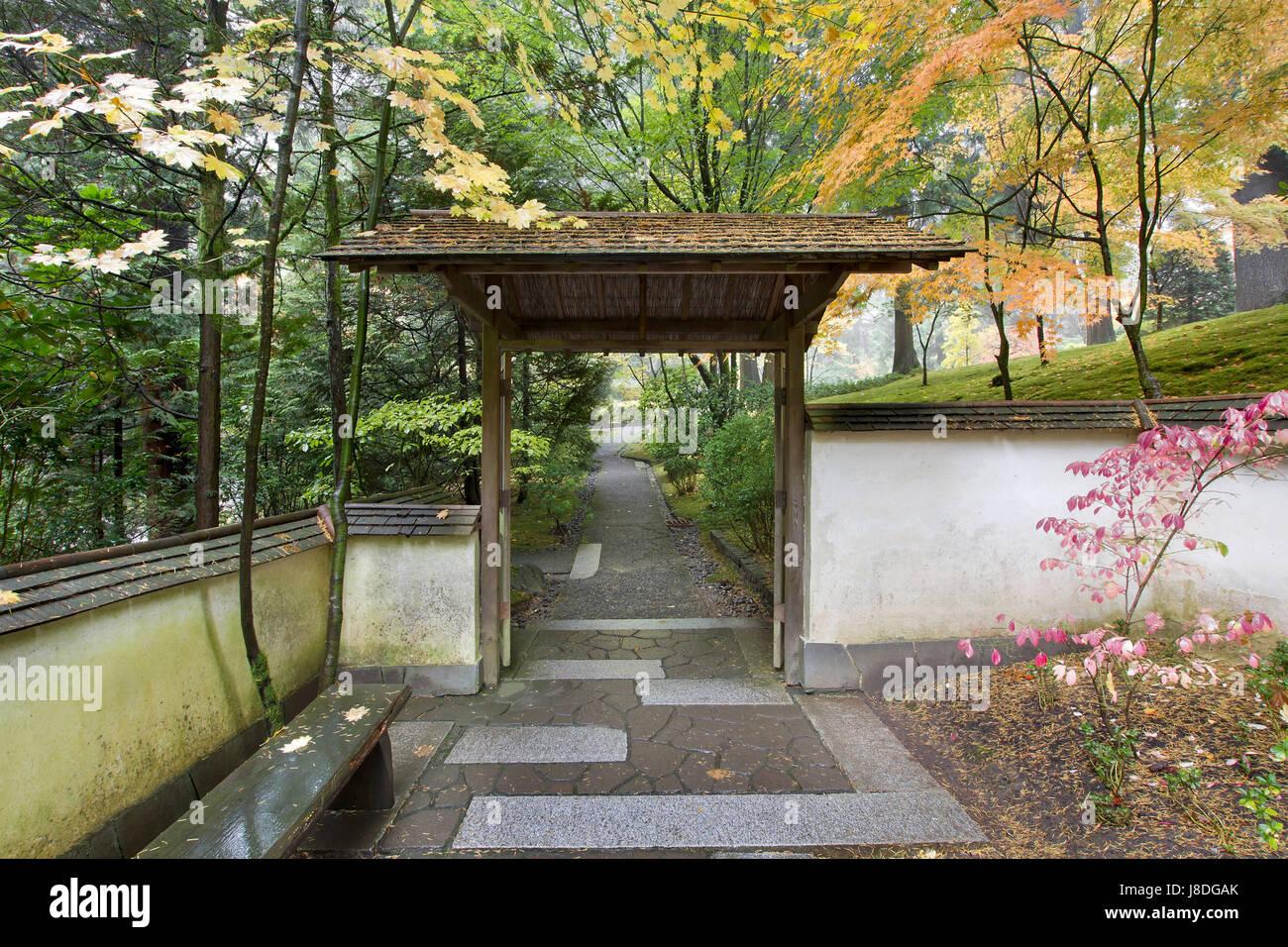 Garden, Stone, Goal, Passage, Gate, Archgway, Gantry, Japanese, Walkway,  Seat,