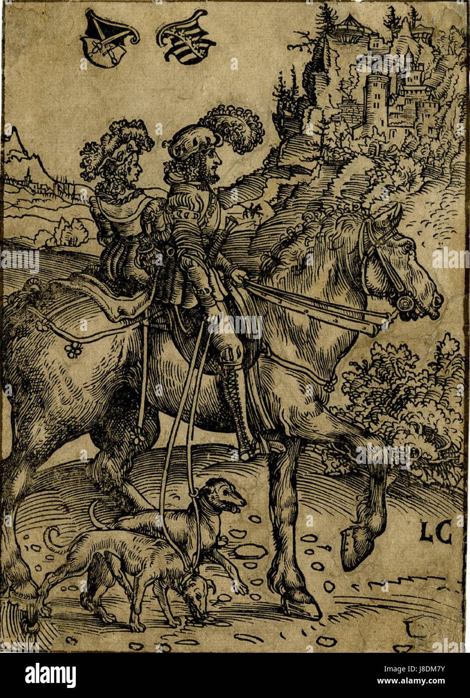 Gentleman and Lady riding to the Hunt by Lucas Cranach the Elder - Stock Image