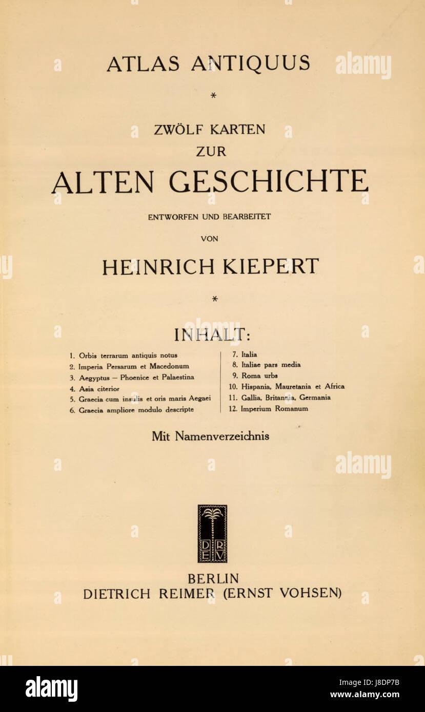 Heinrich Kiepert. Atlas antiquus - Stock Image