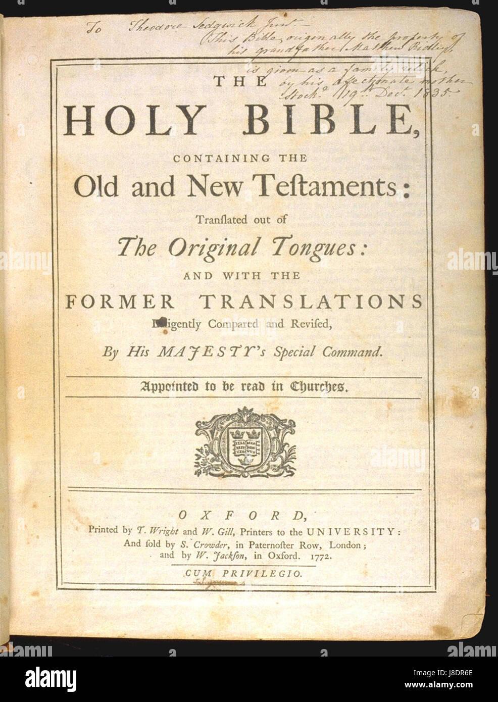 King James Bible 1772 Title page Stock Photo: 142903782 - Alamy