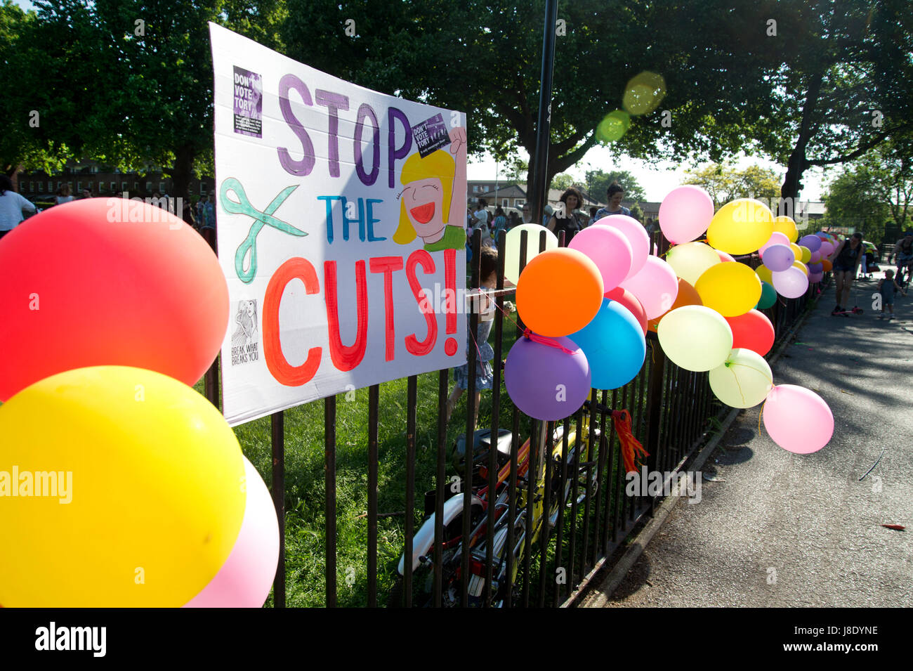 London Fields, Hackney. Protest against government plans to cut over 600 teachers in Hackney.(photo by Jenny Matthews/In - Stock Image