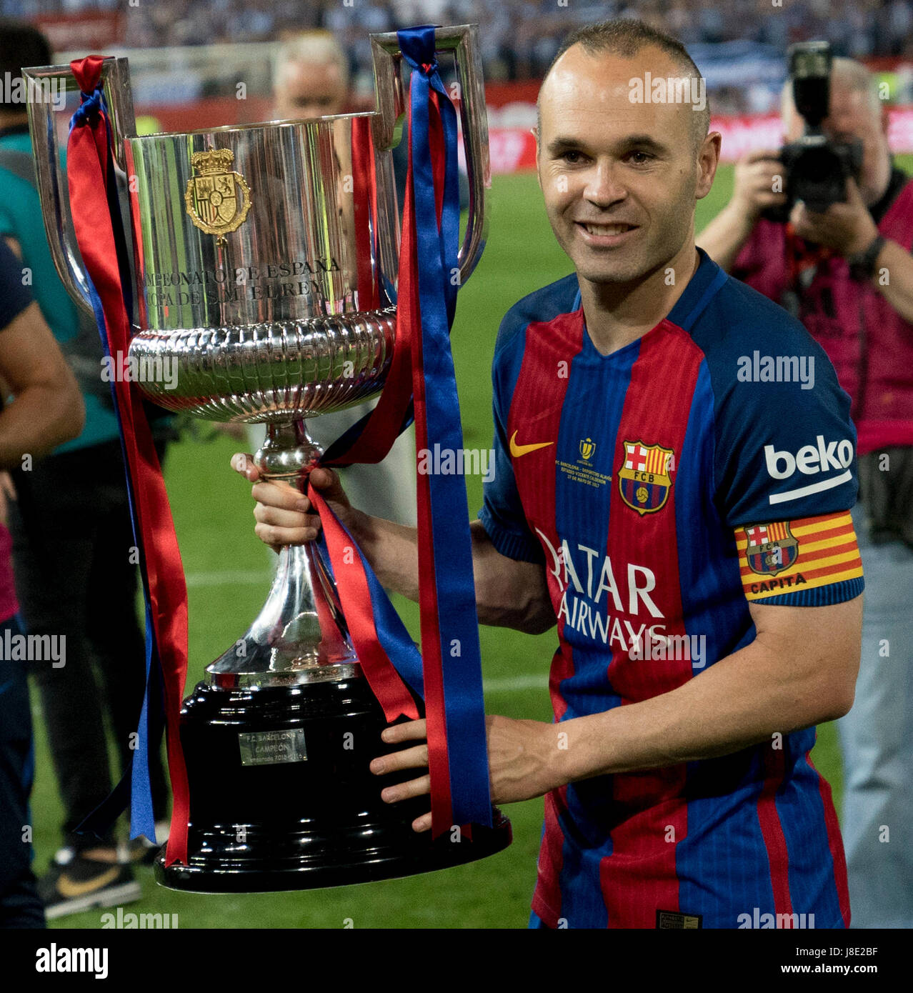 Barcelonas Captain Andres Iniesta At Copa Del Rey Final Match Between Fc Barcelona Vs Deportivo Alaves The Vicente Calderon Stadium In Madrid Spain