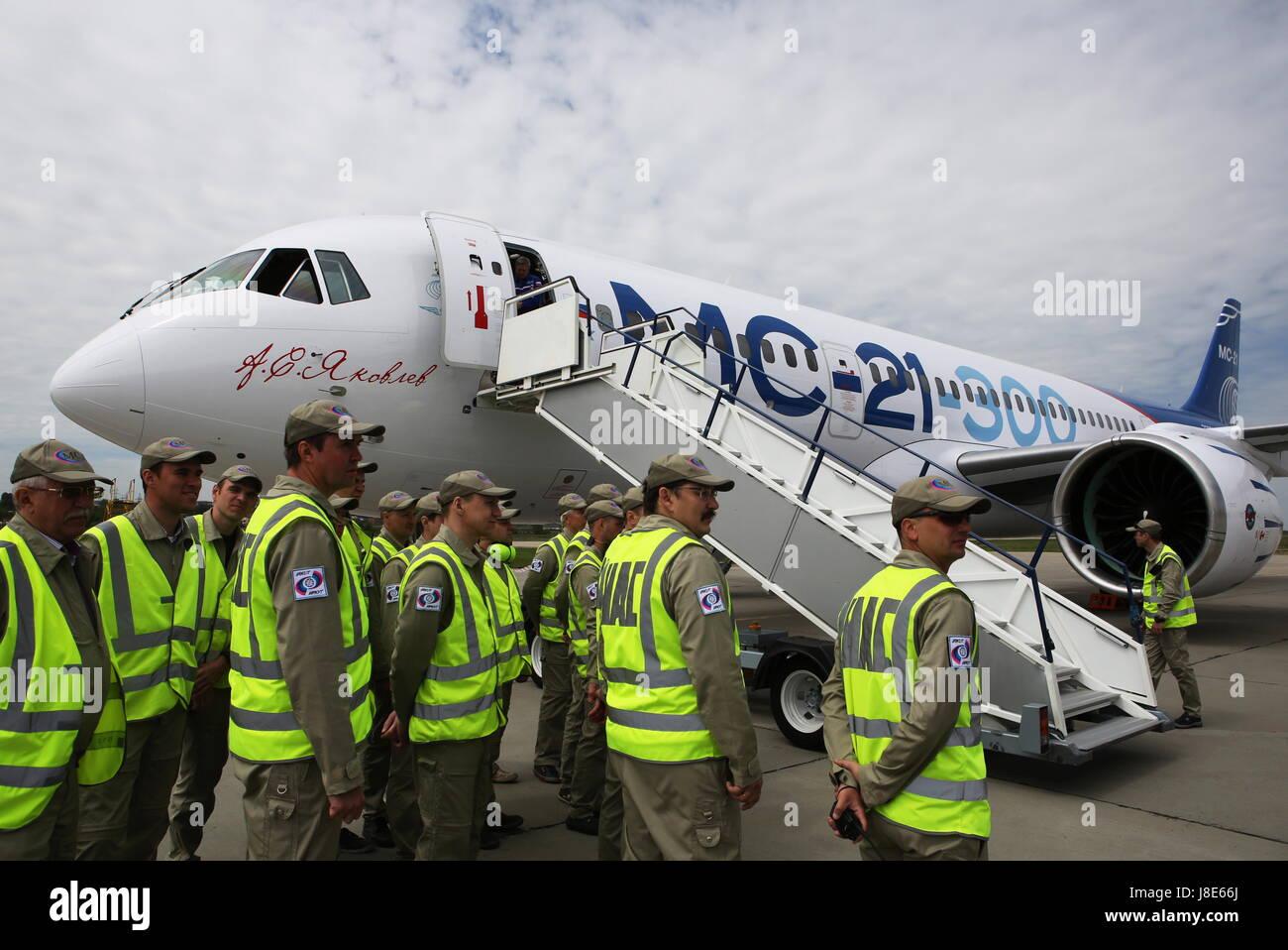 Irkutsk, Russia. 28th May, 2017. A new Russian-made Irkut MC-21-300 twinjet airliner after its first test flight - Stock Image