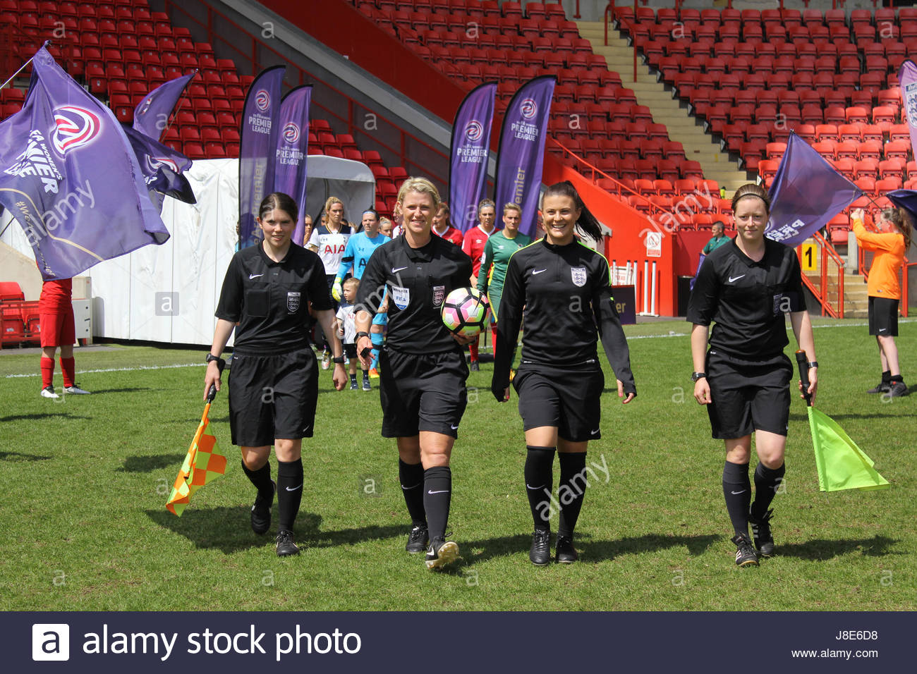London, UK. 28th May, 2017. Referee Sarah Garratt, assistant referees Sarah Grundy & Kirsty Dowle, and fourth - Stock Image