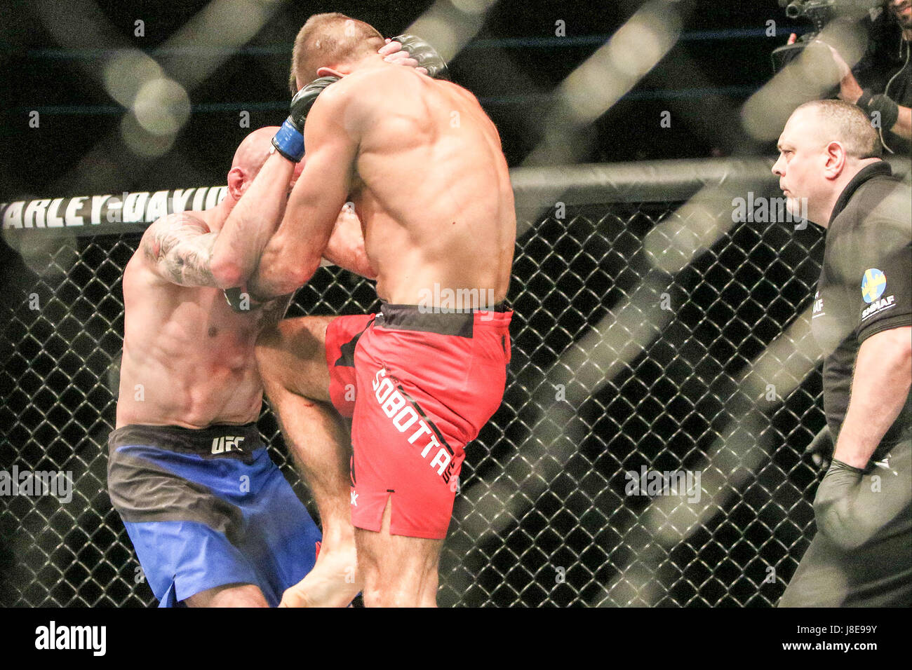Ericsson Globe , Stockholm, Sweden . 28 May 2017. Peter Sobotta defeats Ben Saunders via TKO during UFC Fight  Night Stock Photo