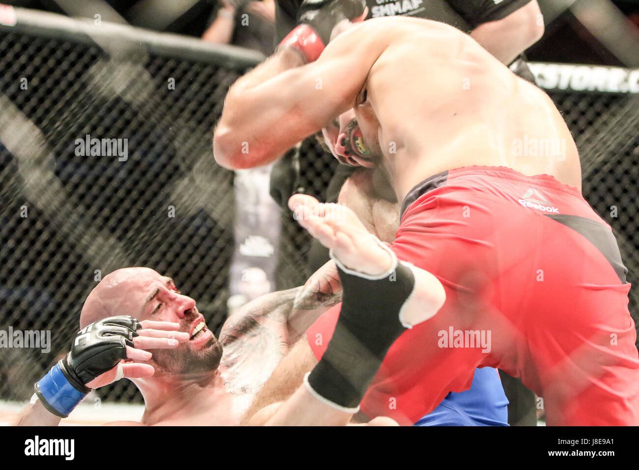 Ericsson Globe , Stockholm, Sweden . 28 May 2017. Peter Sobotta defeats Ben Saunders via TKO during UFC Fight  Night Stock Photo