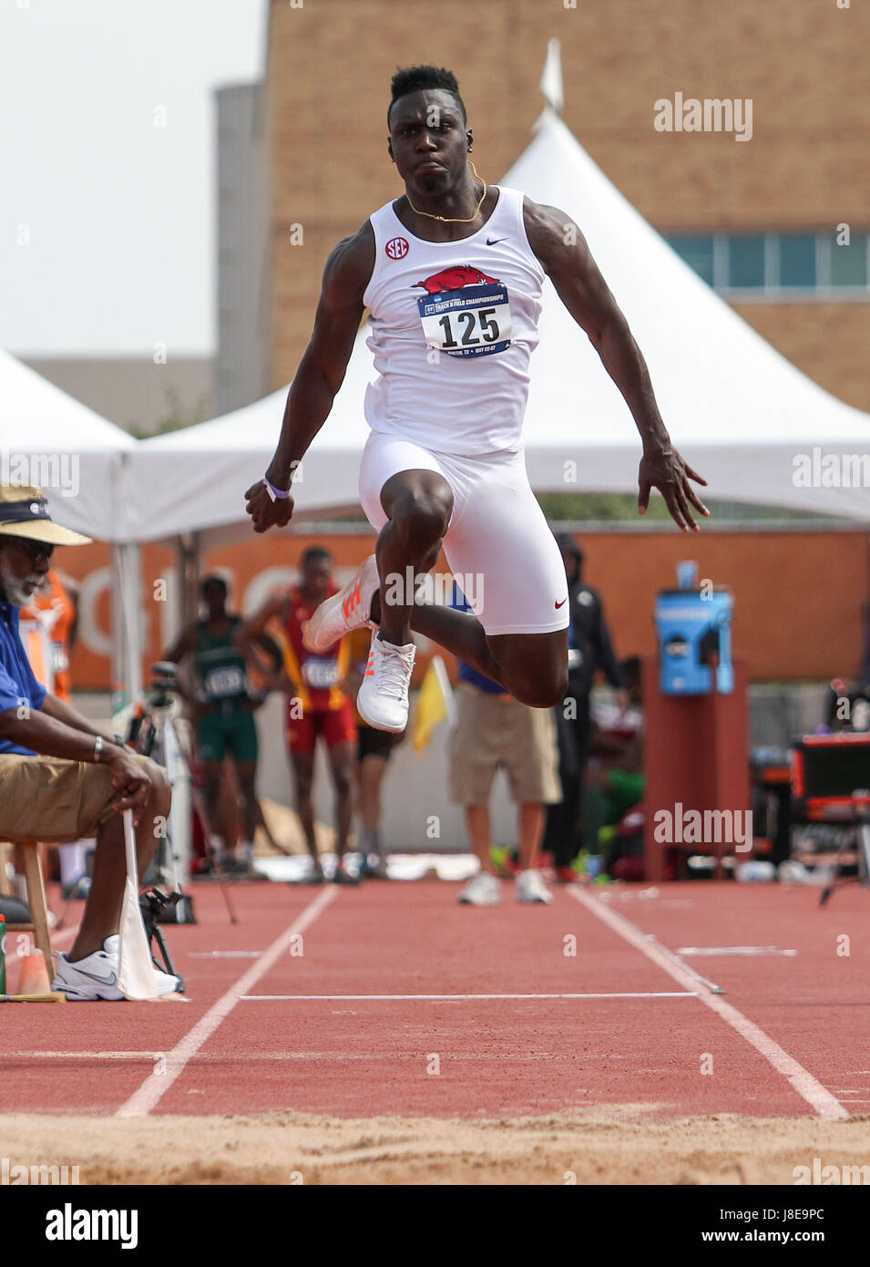 Austin, TX, USA. 27th May, 2017. Arkansas' Clive Pullen jumps during the men's triple jump at the 2017 NCAA - Stock Image