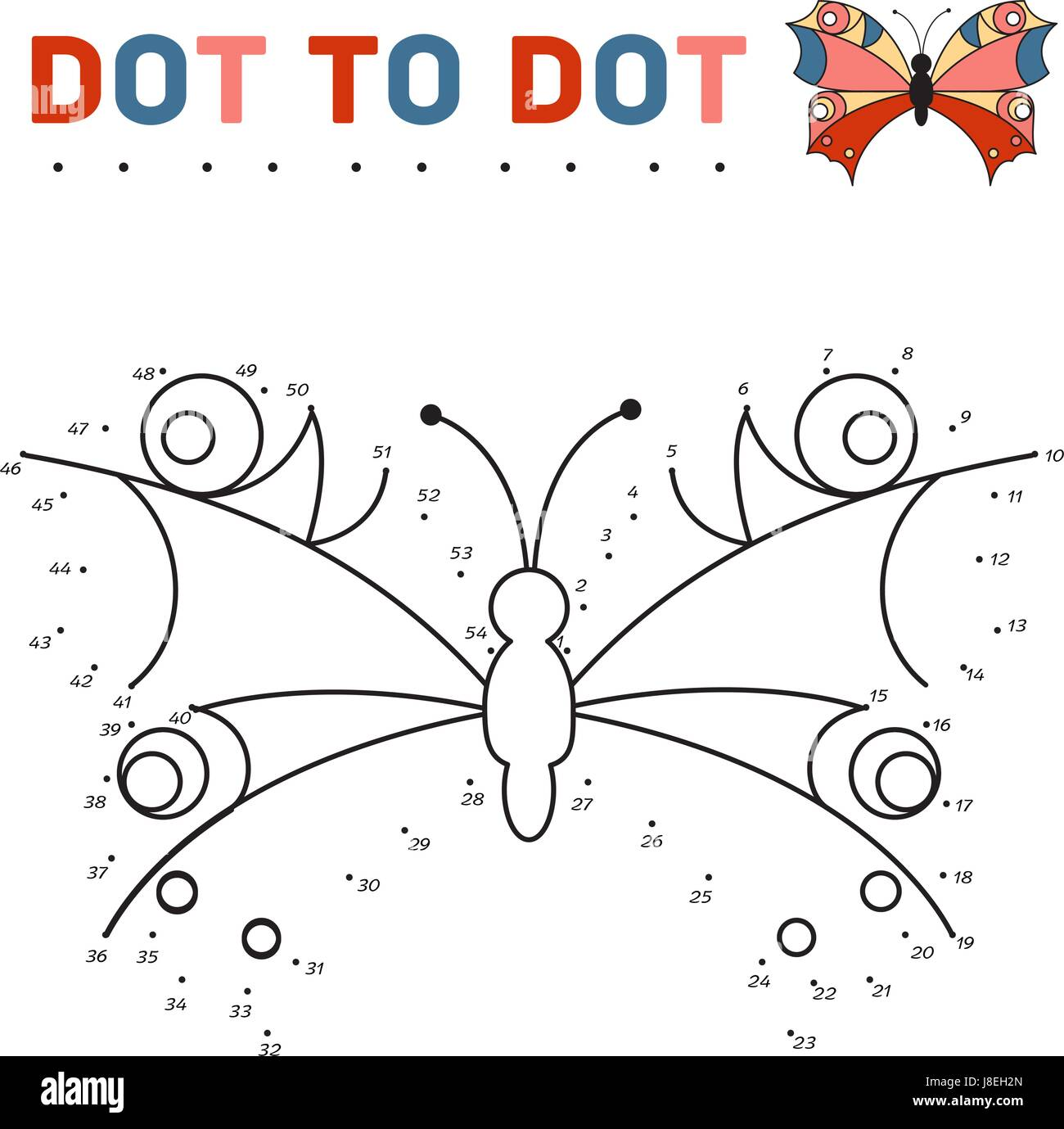connect the dots and paint a butterfly on a sample. Game for children.  - Stock Image