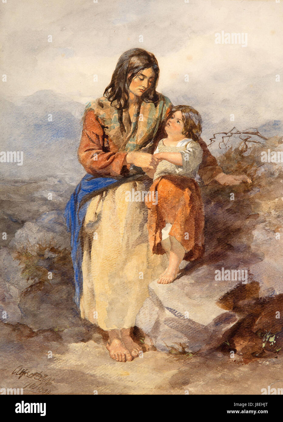 Galway Woman and Child by Alfred Downing Fripp - Stock Image
