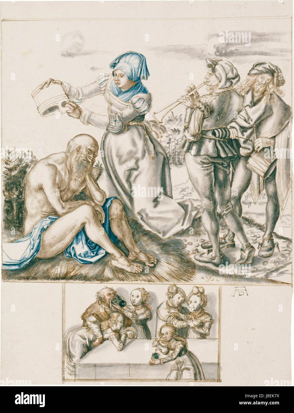 Lucas Cranach Hiob with false signature AD - Stock Image