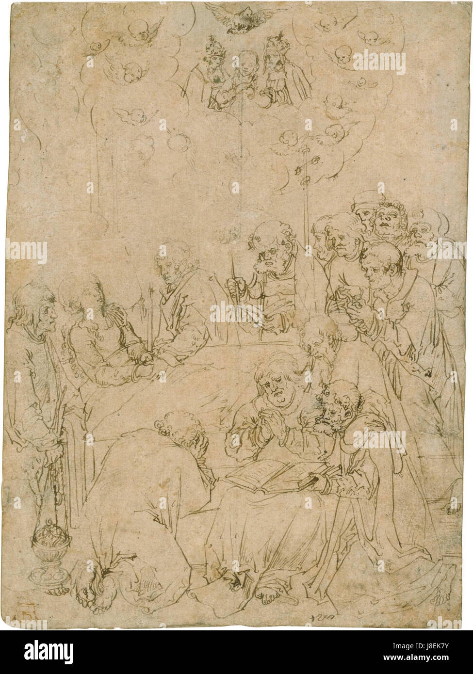 Lucas Cranach Death of St Mary drawing - Stock Image