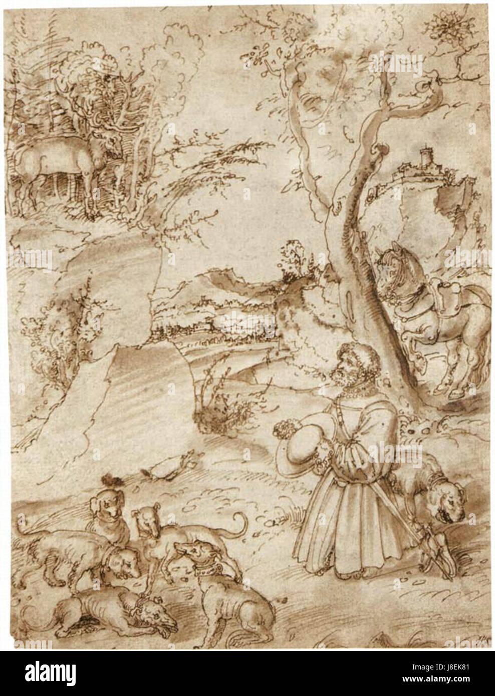 Lucas Cranach St Eustace drawing - Stock Image