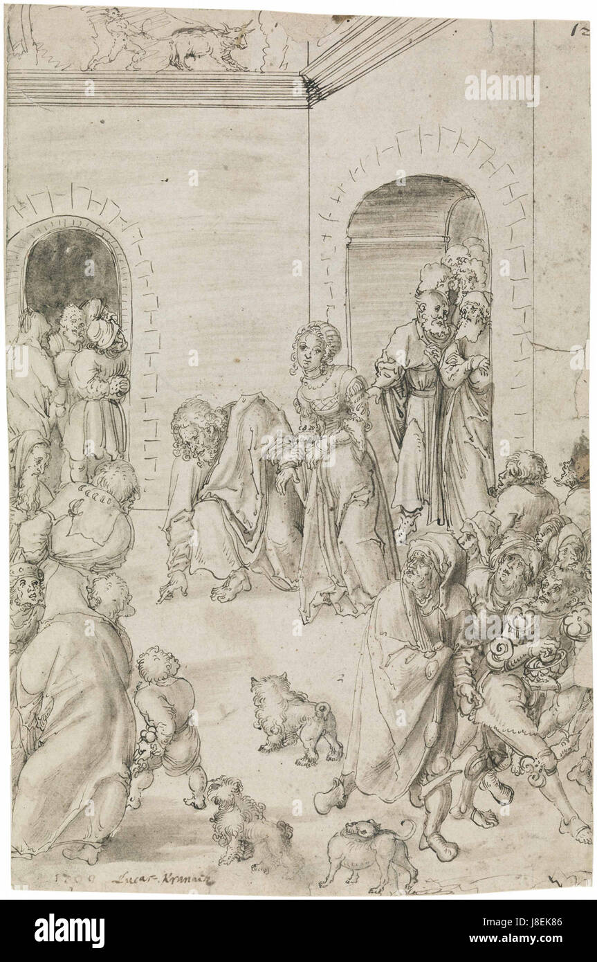 Lucas Cranach, Christ and the adulteress, drawing - Stock Image