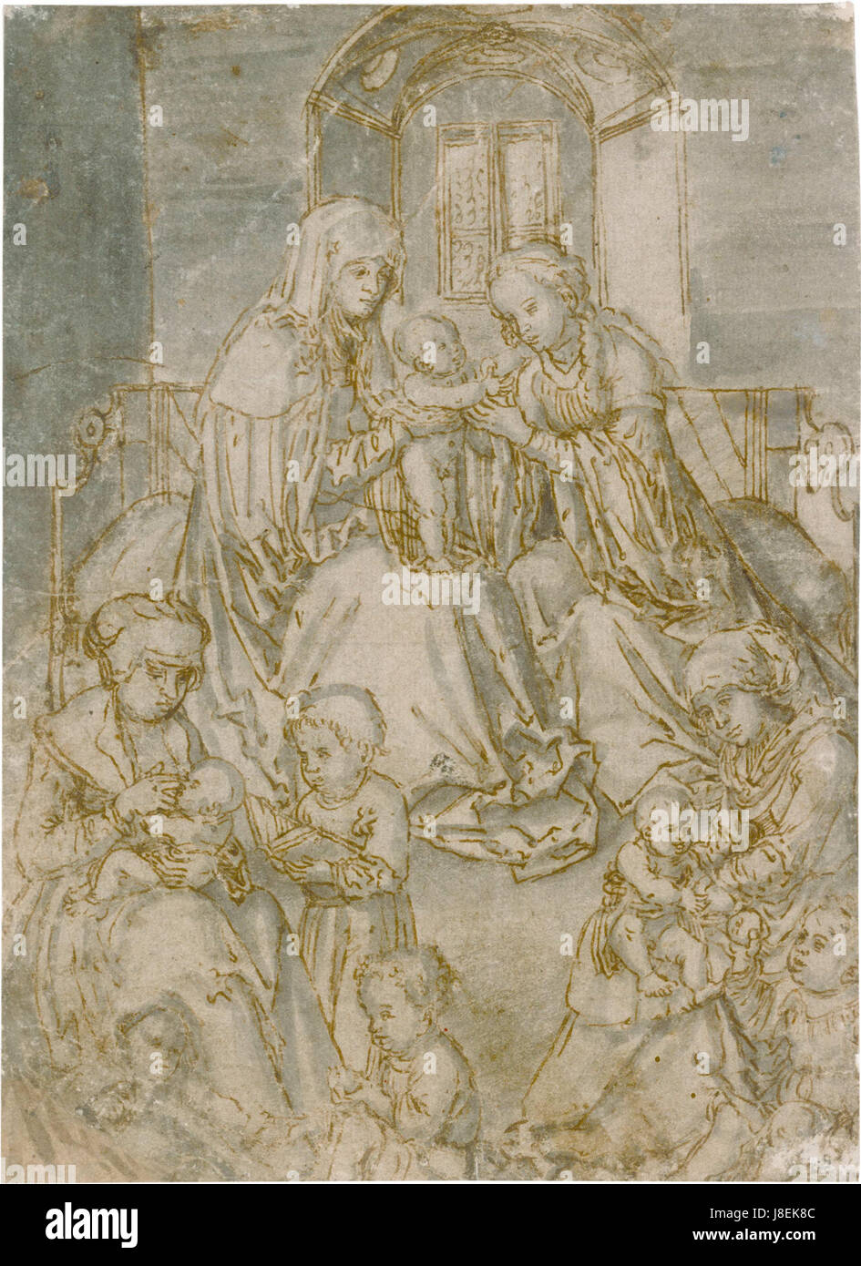 Lucas Cranach, Infant Christ with St Mary and St Anne, drawing - Stock Image