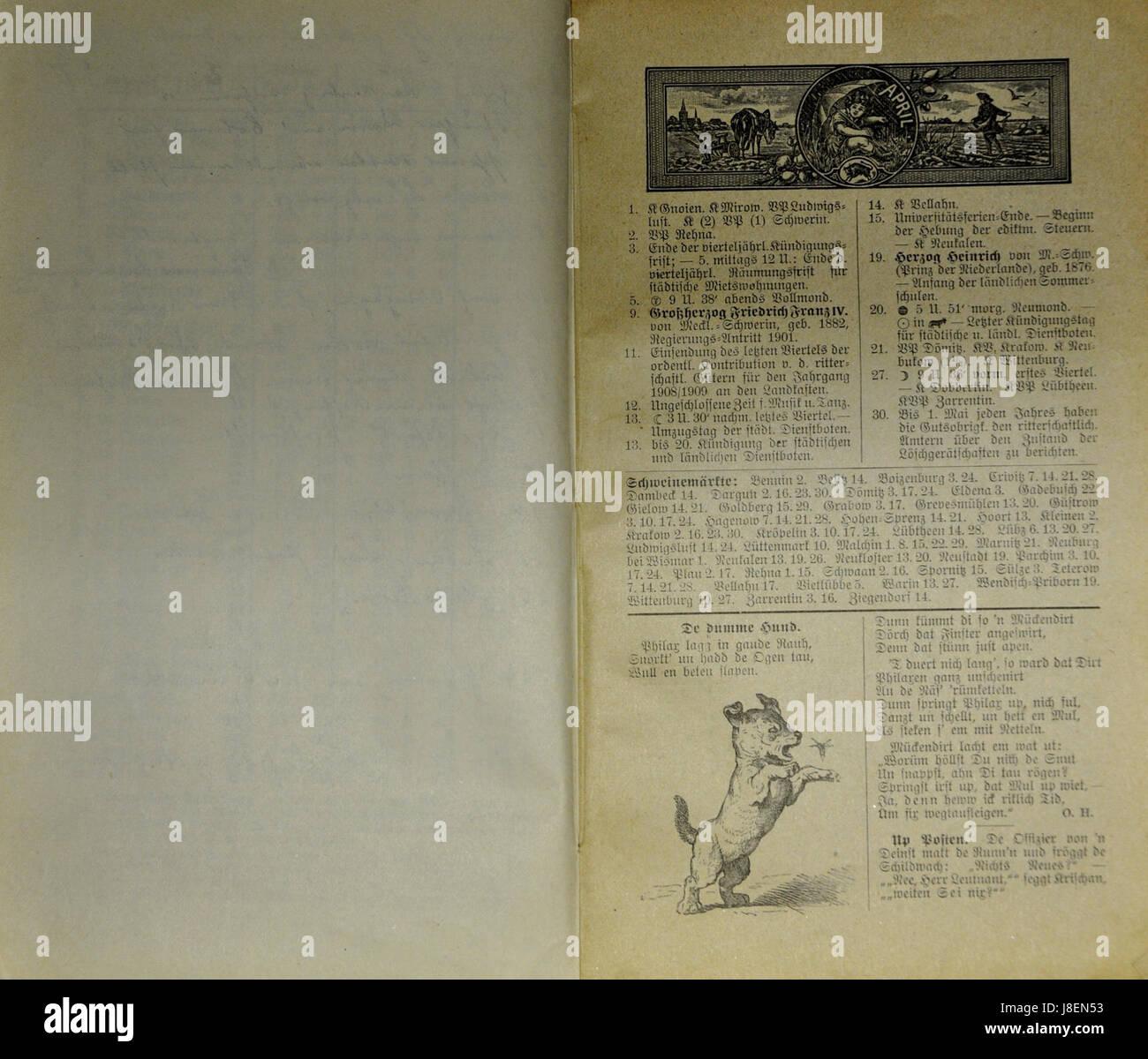 Mecklenburgischer Kalender 1909 010 Stock Photo