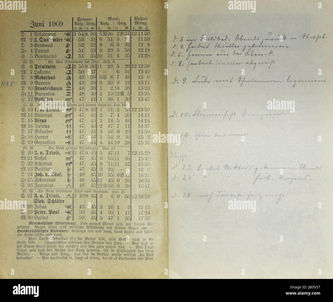 Mecklenburgischer Kalender 1909 013 Stock Photo