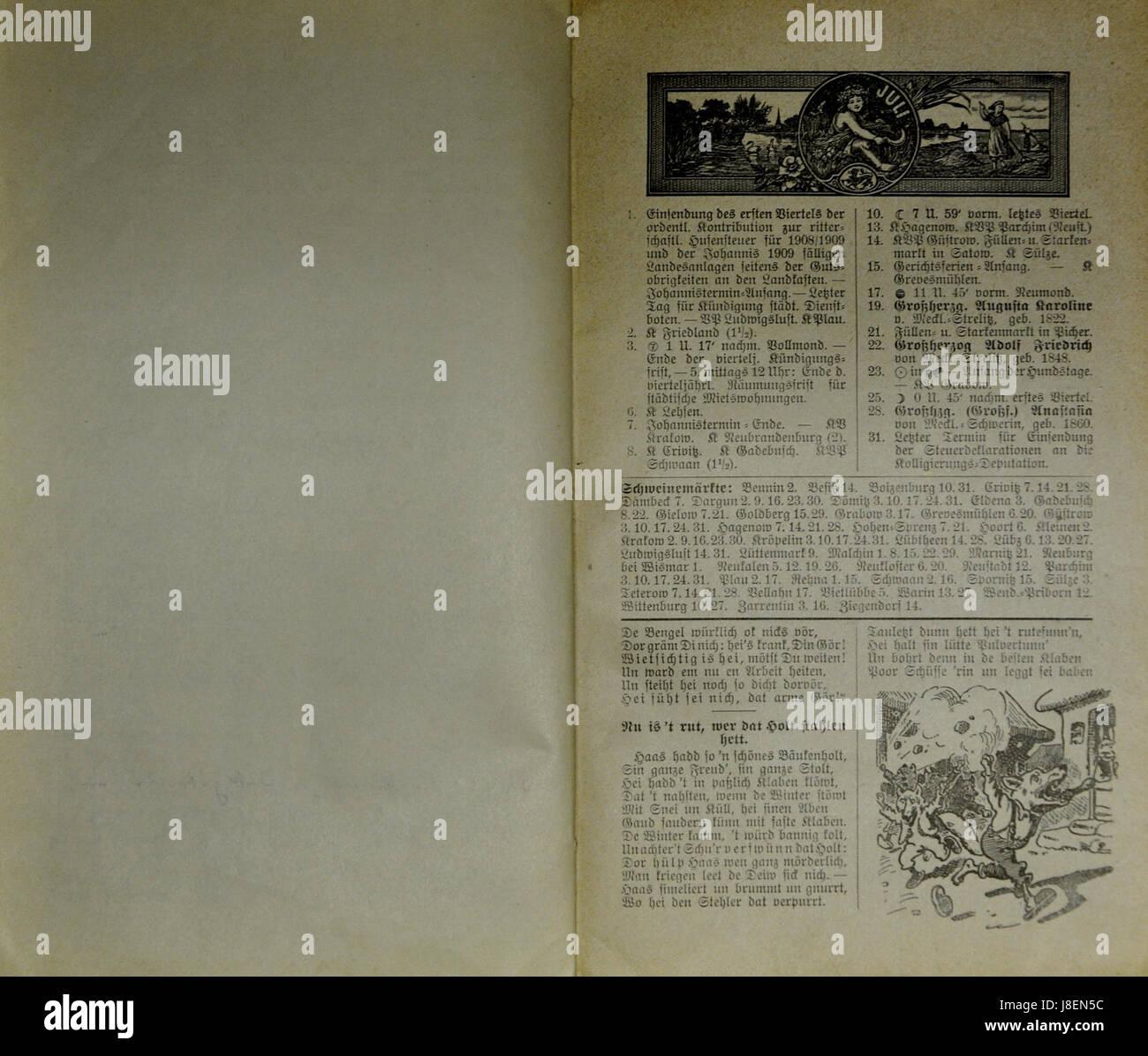 Mecklenburgischer Kalender 1909 016 Stock Photo